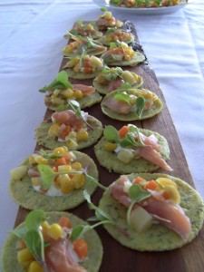 Smoked Trout and Garden Veggies on a Corn Crepe
